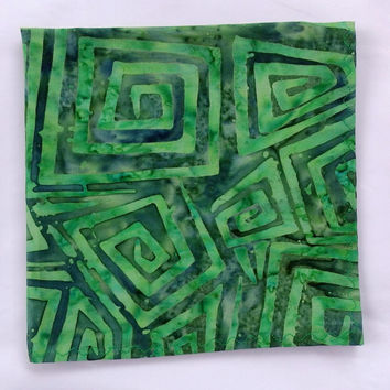 "Saint Patrick's Day Pocket Square / 12.5"" Square / Cool Guy Gifts / Funhouse Batik Pocket Square / Green Handkerchief / Green Batik Hanky"