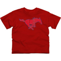 SMU Mustangs Youth Distressed Primary T-Shirt - Red - http://www.shareasale.com/m-pr.cfm?merchantID=7124&userID=1042934&productID=555882989 / SMU Mustangs