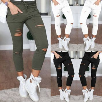 Women Denim Pants Holes Destroyed Knee Pencil Pants Casual Trousers Black White Stretch Ripped Jeans