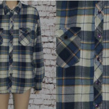 90s Flannel Shirt Jacket Insulated Plaid Blue Button Up L Grunge Punk Hipster Festival Mens Wear Distressed