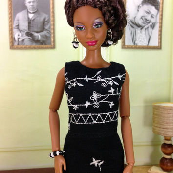 Barbie Doll Clothes - Black Skirt Set with White Embroidered Flower Design, Earrings, Bracelet, and Shoes