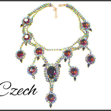CZECH Peacock AB Rhinestone Necklace, Purple & Ocean Blue Green Aurora Borealis, Pageant Jewelry, Rocker Concert Performance Necklace