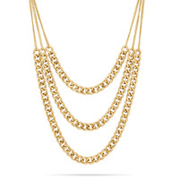 Triple Strand Gold Tone Curb Chain Fashion Necklace