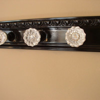 Beautiful coat rack with 3 glass door knobs and decorative beveled moulding. shabby chic style ideal for robe purse coat or decor only