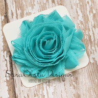 Rosette Hair Clip, Turquoise Rosette, Frayed Chiffon Hairclip, Children's Hair Accessories, Toddler Hairclip, Girls Hairbow, Flower Hairclip