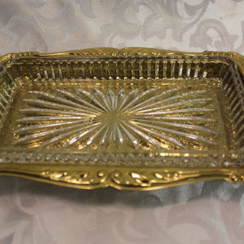 Gold Metal Serving Tray With Glass Insert - Copper Craft - Pressed Metal - Ornate Tray With Scalloped Edges