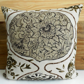 Schumacher Katsugi Decorative pillow cover, brown floral pillow cover