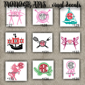 MONOGRAM vinyl decals | name | initial | decal | sticker | car decals | car stickers | laptop sticker - 127-135