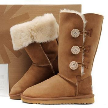 Fashion simple three buckle Gaotong snow boots women boots