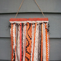 """Fall Halloween Polka Dot Wall Decor Hanging Flag Banner Cottage Chic Vintage Lace & Ribbon Decor, 10"""" x 14"""" L"""