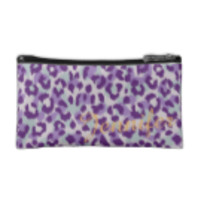 Chic colorful purple cheetah print monogram cosmetic bag