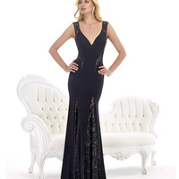 Morrell Maxie 14751 Sheer Lace Detail Black Gown 2015 Prom Dresses