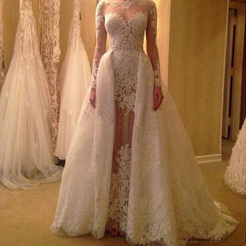 Elegant Scoop Neck Lace Detachable Wedding Dresses With Long Sleeve Bridal Gown
