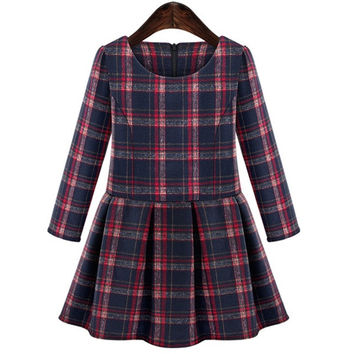 Women Fashion Sexy Elegant  O-Neck Long Sleeve Plaid Autumn Winter Pleated Mini Dress = 1667543108