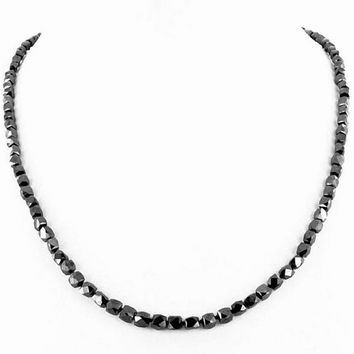 69 Cts Single Strand Handmade Black Diamond Beaded Necklace with  Sterling Silver  Clasp
