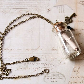 Mini Bottle Necklace With Antiqued Brass Chain, Message In A Bottle