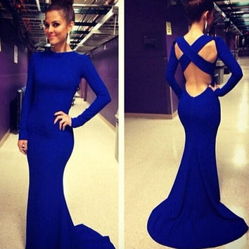 Fashion Women Long Sleeve Prom Ball Cocktail Party Dress Formal Evening Gown