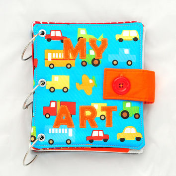 Blue Travel Art Busy Book with Cars and Trucks // Travel Busy Book // Portable Art and Craft Activity