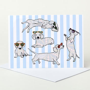 Dogs in Sunglasses Greeting Card (sausage dog, dachshund)