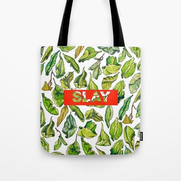 slay tea slay! // watercolor tea leaf pattern with millennial slang Tote Bag by Camila Quintana S