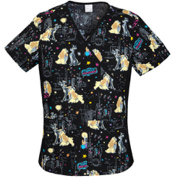 Cherokee Evening Stroll Mock Wrap Side Panel Top - Print Scrub Tops - Marcus Uniforms