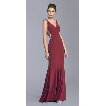 Plunging V-Neck Long Prom Dress Burgundy with Cut-Out