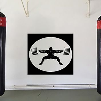 Large Vinyl Decal Image For Gym Training Iron Weight Bar Wall Sticker (n613)