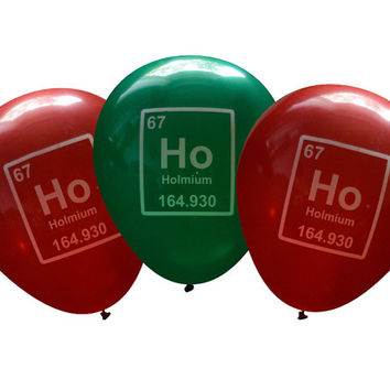 Nerdy Ho Ho Ho Periodic Table Element Balloons Holmium | Geeky Party Decorations | Student, Professor, Teacher, Scientist, Chemist