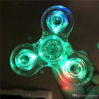 Transparent Crystal LED Fidget Spinner Tri-spinner Luminous Glitter Jelly Hand Spinner with 3 independent Switch Anxiety Stress Finger Toy