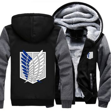 USA size Attack on Titan Survey Legion Coat Zipper Hoodie Winter Fleece Unisex Thicken Jacket Clothing