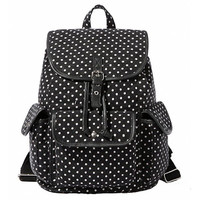Dots Casual Style Canvas Travel School College Backpack