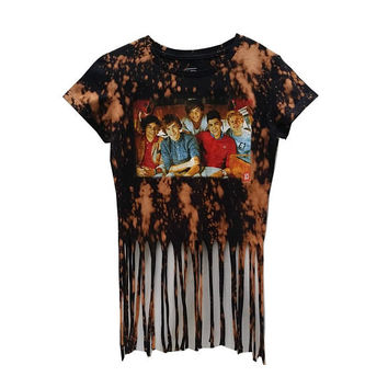 SALE One Direction Band TShirt 1D Music Tee Frayed Crop Top Acid Wash Niall Horan Zayn Womens Girls Pop Music Festival Rave Punk Grunge Boho