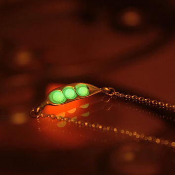 Pea pod GLOW in the DARK necklace Gold color