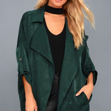 High-Spirited Forest Green Satin Jacket