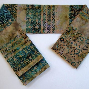 "Border Print Scarf / 5"" Wide 74"" Long / Khaki and Emerald Scarf / Unique Handmade Scarves / Batik Scarf / Green Batik Scarves / Batik Belt"