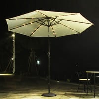 9 Feet Outdoor Market Aluminum Umbrella with Tilt and Crank and Solar Cell LED Light (Off White ** Base Not Included **