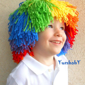 Clown Wig Child Halloween Costume Red Yellow Blue Orange Green Purple Rainbow Hat