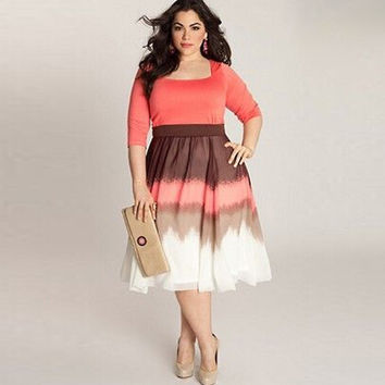 Square Collar Dress Plus Size Work dresses Plus Size Women Clothing