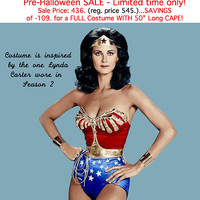 SALE...436.00... Pre-Halloween Sale 2014! (reg. price will return to 545. in Jan) ... Full Wonder Woman Costume WITH CAPE Hurry...