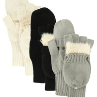 Faux Fur Trimmed Convertible Knit Fashion Gloves