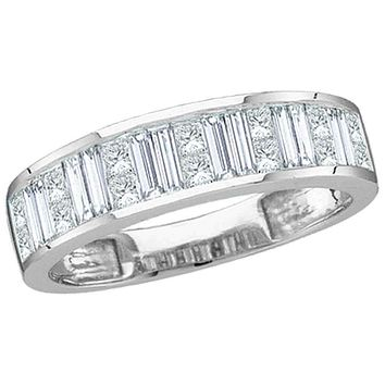 14kt White Gold Women's Baguette & Princess Diamond Wedding Anniversary Band 1.00 Cttw - FREE Shipping (US/CAN)