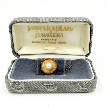 Vintage 14k GOLD TIE TACK Cultured Pearl 14k Yellow Gold Gentleman's Tie Tack Pin James Kaplan Jewelers
