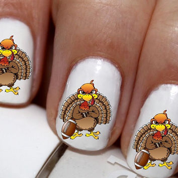 20 pc  Happy Harest Thomas The Turkey Thanksgiving Game Day Turkey Football N Turkey Fall Season Nail Art Nail Decals #cg1322na