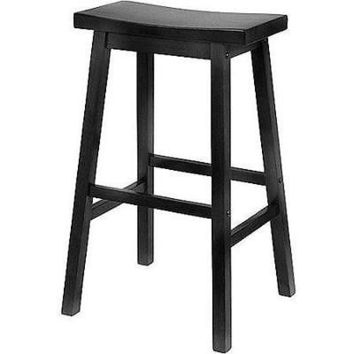 Solid Wood Saddle Stool Black 29 Inch Bar Kitchen Dining Outdoor ( Set of 2 )