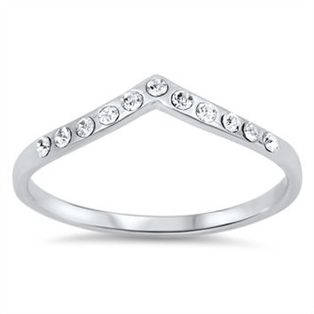 925 Sterling Silver CZ Rhodium Plated Stackable Tiara Ring 4MM