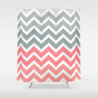 Chevron Pink Fade Shower Curtain by RexLambo