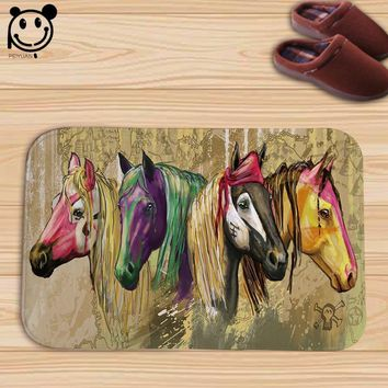PEIYAUN Cartoon Animal Colorful Horse Flannel Door Mat Factory Custom Made Floor Mat Carpets for Bathroom Home Decor