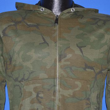 80s Camouflage Woodland Zip Up Hooded Jacket Small