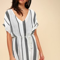 Wink Once Black and White Striped Swim Cover-Up