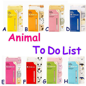 Animal to do list Planner 2015 Cute animal sticky paper Chicken duck dog cat alpaca sheep rabbit panda pig penguin daily planner note